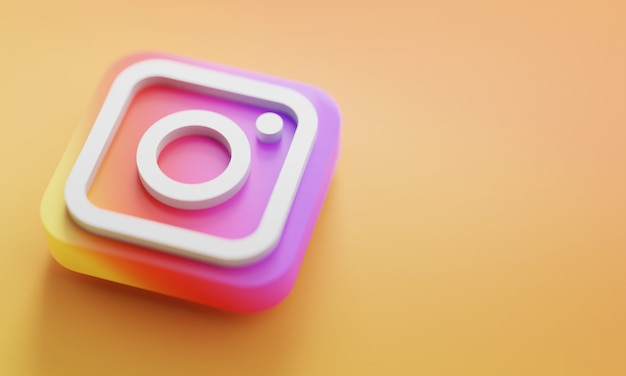 Instagram logo 3d rendering close up. account promotion template.