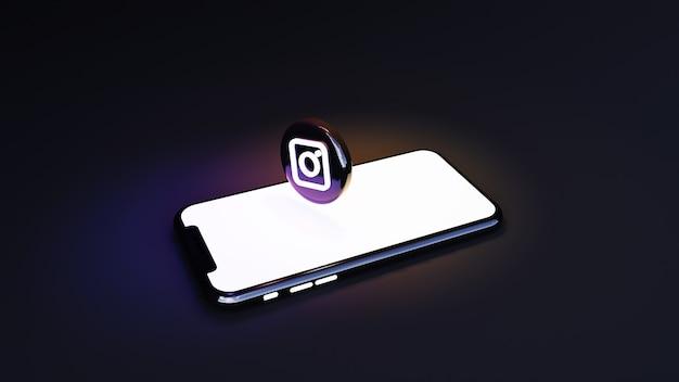 Instagram логотип 3d-рендеринга. уведомления из социальных сетей на телефоне