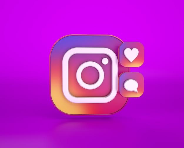 3d-рендеринг логотипа instagram