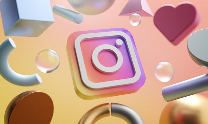 Instagram logo around 3d rendering abstract shape background