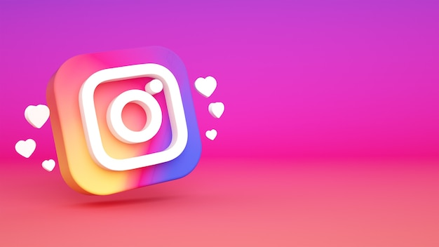 Instagram logo background 3d rendering