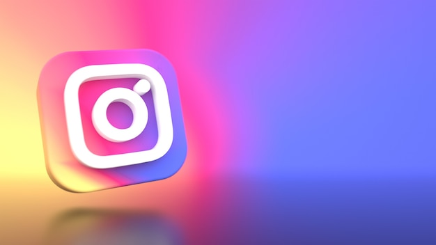 Instagram logo background 3d rendering
