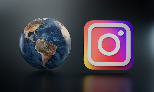 Instagram logo beside earth render.