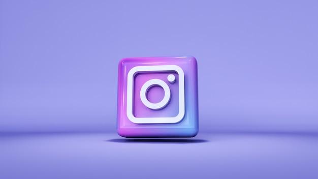 Значок кнопки логотип instagram 3d с копией пространства. 3d рендеринг