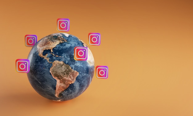 Instagram logo icon around earth. popular app concept.