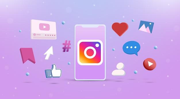 Значок логотипа instagram на телефоне с значками социальных сетей вокруг 3d