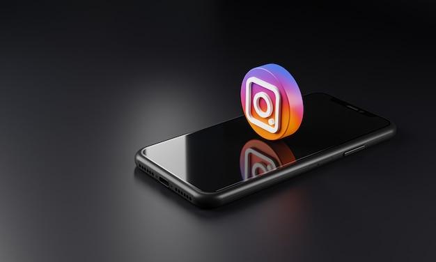 Значок логотипа instagram над смартфоном, 3d-рендеринг