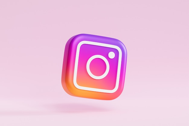 Instagram logo icon on pink surface