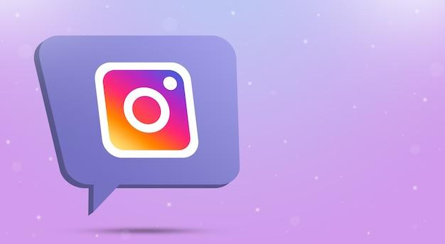 Instagram logo icon on speech bubble 3d