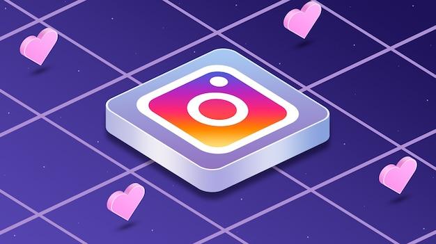 3dの周りの心を持つinstagramのロゴアイコン