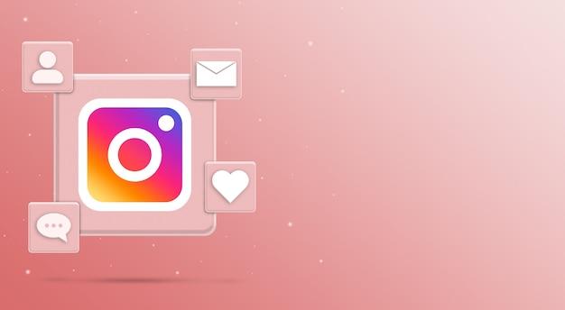 Значок логотипа instagram с активностью в социальных сетях 3 рендера