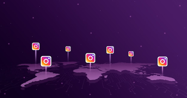 Instagram logo icons over all continents of the world map 3d