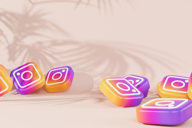 열대 잎 그림자가있는 베이지 색 표면에 instagram 로고 아이콘