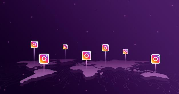 세계지도 3d의 모든 대륙에 대한 instagram 로고 아이콘