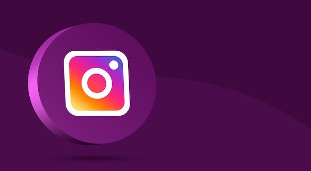 Минималистичный дизайн логотипа instagram на круге 3d