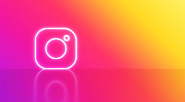 Instagram logo in neon with space for text and graphics. rainbow background.