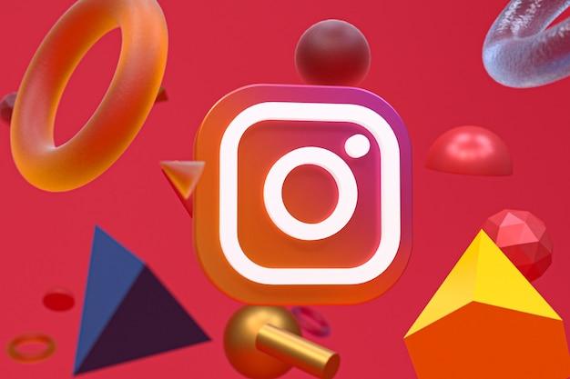 Логотип instagram на фоне абстрактной геометрии