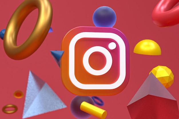 Логотип instagram на фоне абстрактной геометрии Premium Фотографии