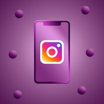 電話スクリーンの3dレンダリングのinstagramのロゴ