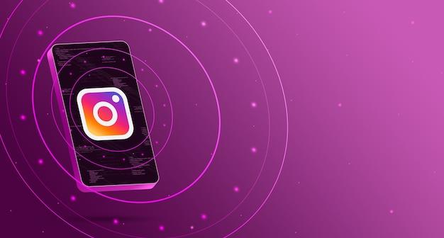 기술 디스플레이가있는 휴대 전화의 instagram 로고, 스마트 3d 렌더링