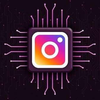 Логотип instagram на реалистичном фоне технологии процессора 3d