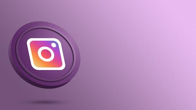 Логотип instagram на рендеринге круглой кнопки