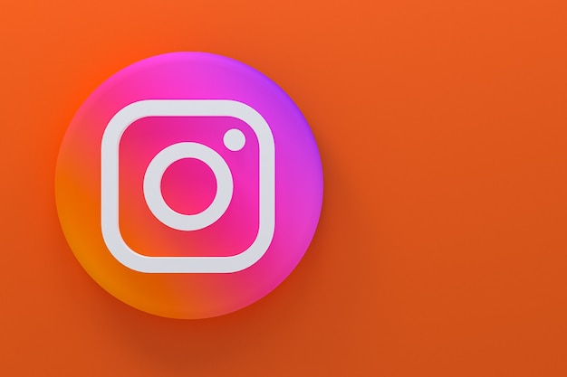 Минималистичный логотип instagram 3d-рендеринга