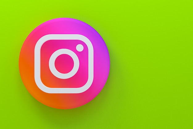 Instagramの最小限のロゴの3dレンダリング