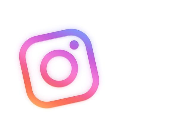 Минимальный логотип instagram 3d-рендеринга