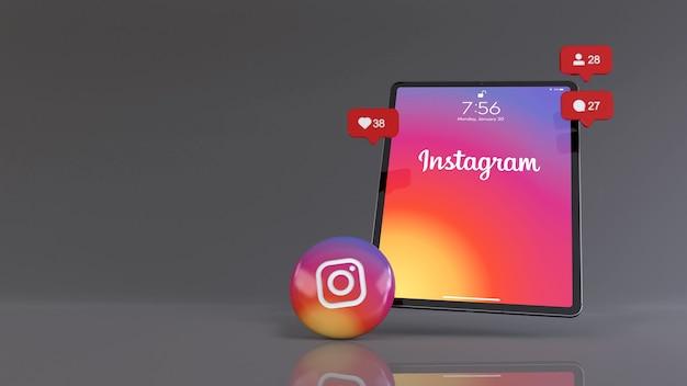 Таблетка и лайки в instagram, шарики подписчиков и комментариев
