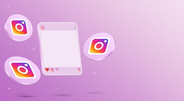 Instagram post 3d интерфейс социальных сетей с логотипами вокруг