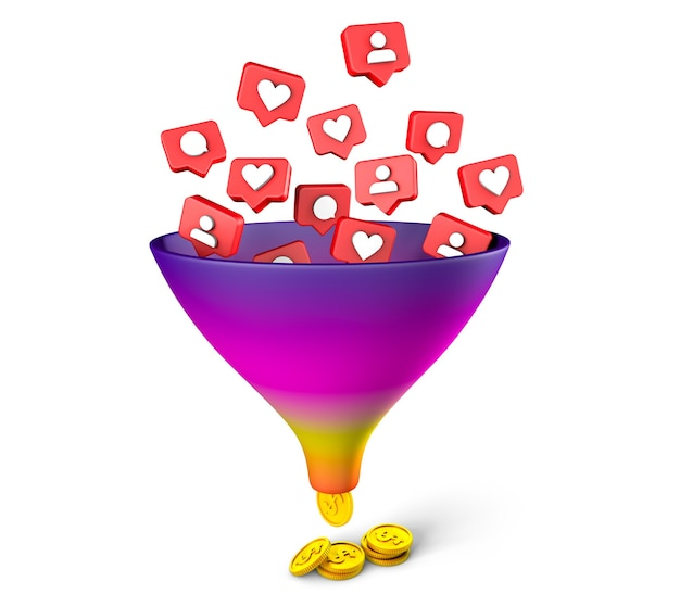 Instagram sales funnel likes comments subscriptions bring money on social networks isolated