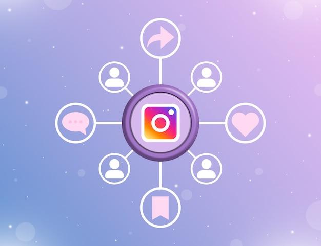 소셜 활동 및 사용자 아이콘 3d 유형이 있는 둥근 버튼의 instagram 소셜 미디어 로고