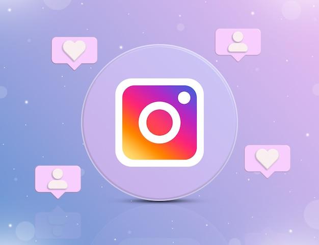 Логотип социальной сети instagram со значками уведомлений о новых лайках и подписчиках вокруг 3d