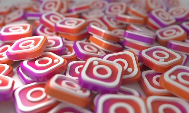 Instagram stacked 3d isometric logos background  social network media symbol