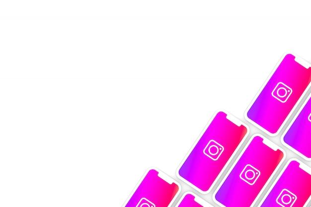 Символ instagram на экране смартфона или мобильного 3d визуализации