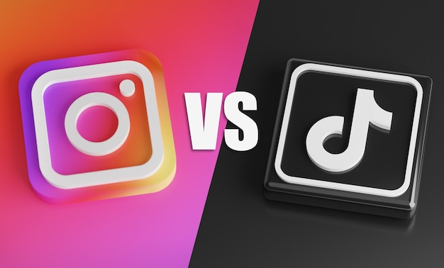 Instagram versus tiktok. rivalry competition concept on social media
