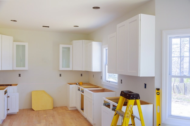 Installation of kitchen installs kitchen cabinet. interior design construction kitchen