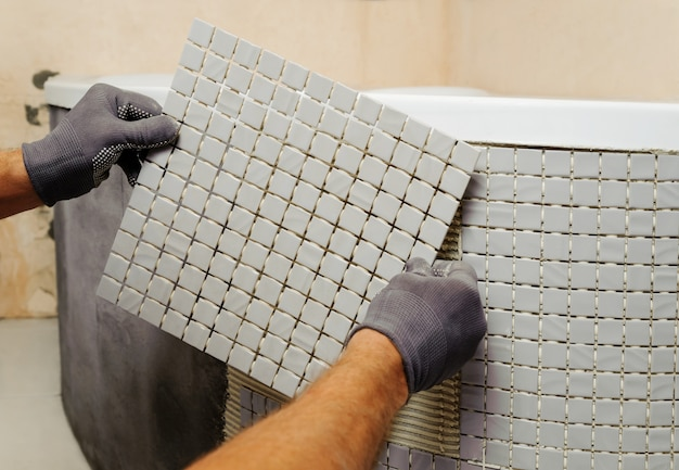 Installation of mosaic tiles.