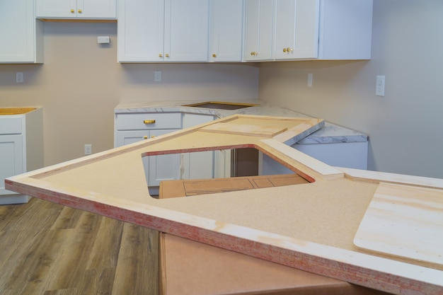 Installing cabinets and laminate kitchen counter top
