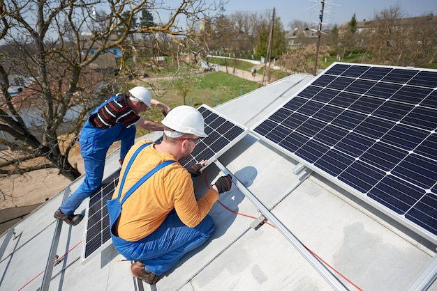 Installing solar photovoltaic panel system on roof of house