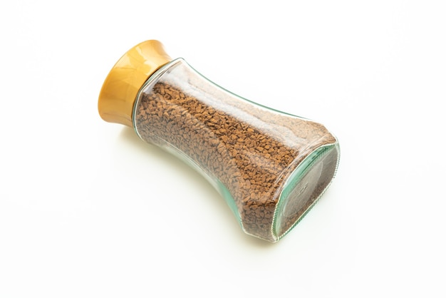 Instant coffee in glass bottle isolated