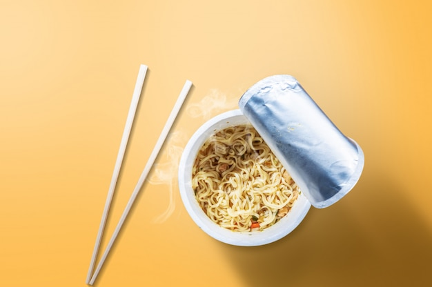 Instant cup noodle with chopstick