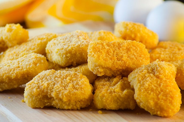 Instant food raw chicken nuggets already ready for cooking