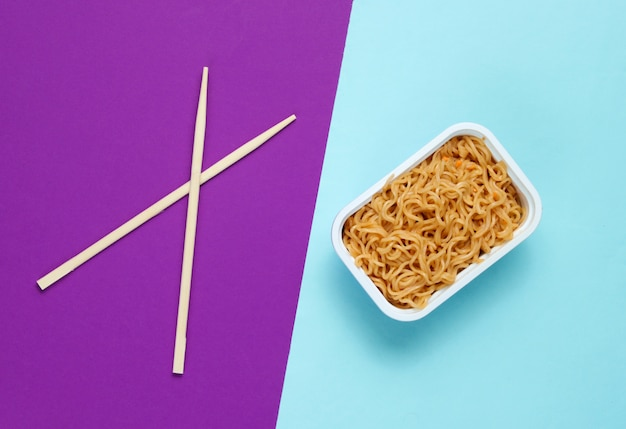 Instant noodles and chinese chopsticks