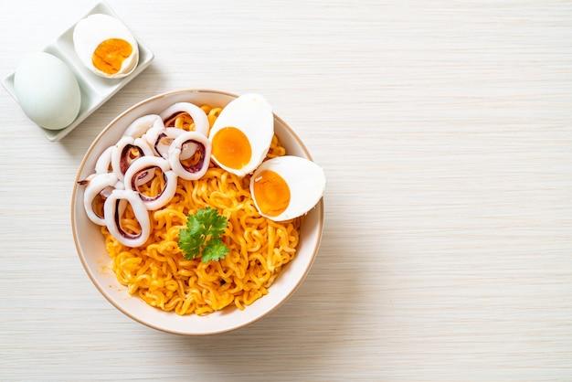 Instant noodles salt egg flavour with squid or octopus bowl