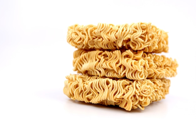 Instant noodles on a white backdrop.