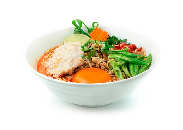 Instant noodles with tom yum soup creamy spicy