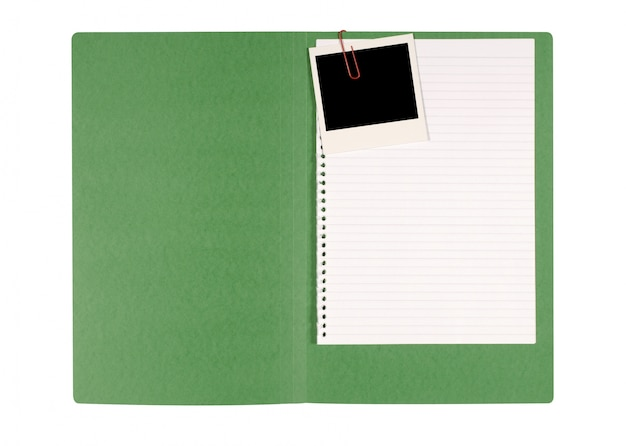 Instant photo in a green folder