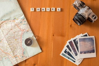 Instant photos and travel concept